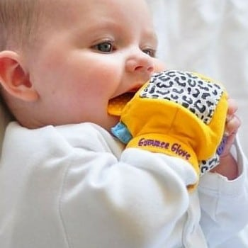 gummee glove, gummy glove or gummie glove is a revolutionary teething mitten for early teethers