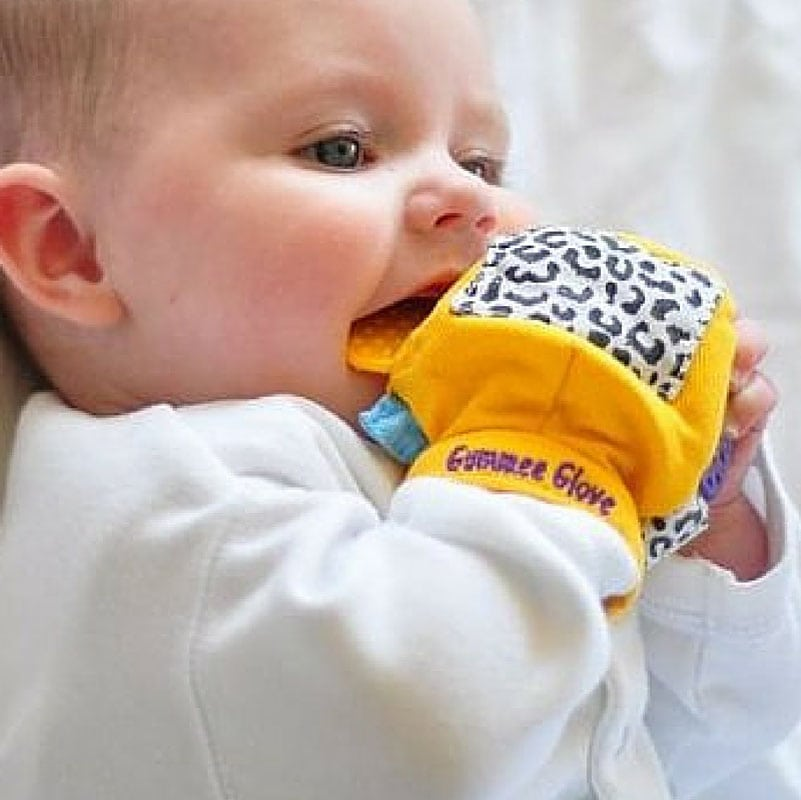 gummee glove is the best teether around. The ring calms aching teeth and it doubles as a toy