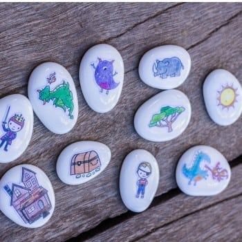 story stones should be included in every junior classroom to help kids create, alter, retell and extend stories