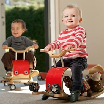wishbone flip red is an ideal first birthday present to get kids moving. It is a ride on, rocker and push toy