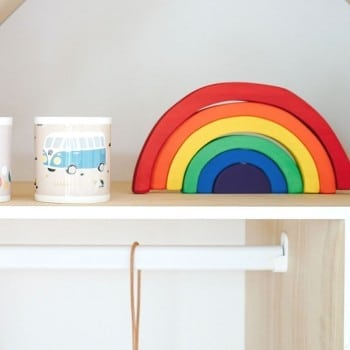 wooden rainbow decor to make your childs room bright