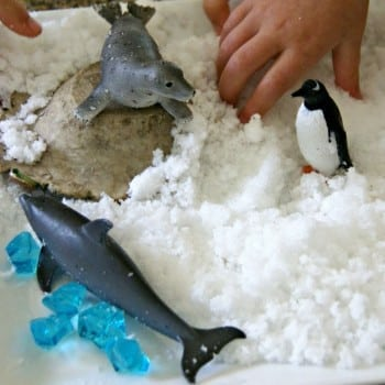 fake snow small world made with polymer powder