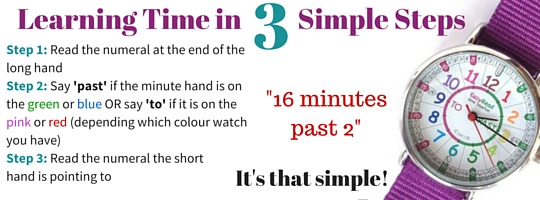 Telling the time with Easy Read Time Teacher watch - a kids watch to help them learn telling the time