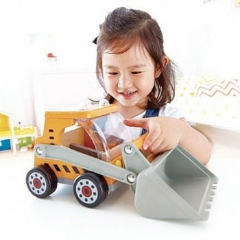 big digger truck is one of four hape trucks that both boys and girls can enjoy