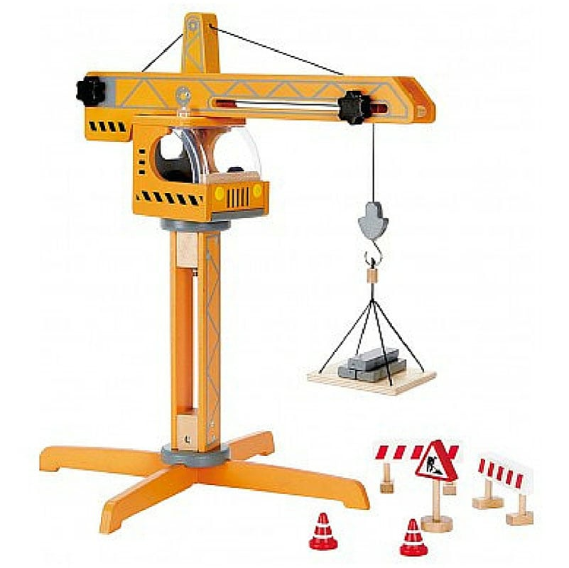 Construction Play Toys : Toy crane lift by hape wooden play set for avid builders