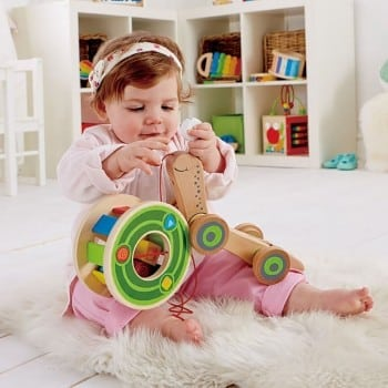 shape sorter snail pull along by hape is an incredible wooden toy that encourages your child to explore, crawl, walk, shape and colour recognition.