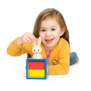bunny boo peek-a-boo logical puzzle is a sturdy educational toy for kids by Smart Games