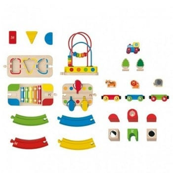 hape rainbow route and station train set is a gorgeous little train kit for toddlers