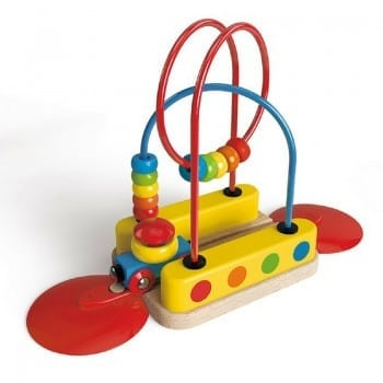 hape train wooden set has several learning stations