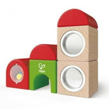hape wooden blocks make the best train stations. With mirrored and rattle pieces, these blocks are highly engaging