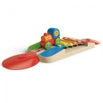 musical train set by hape has many musical and learning stations including this xylophone bridge