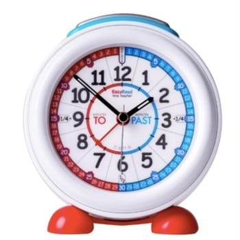 easy read time teacher kids alarm clock is available in rainbow and red and blue