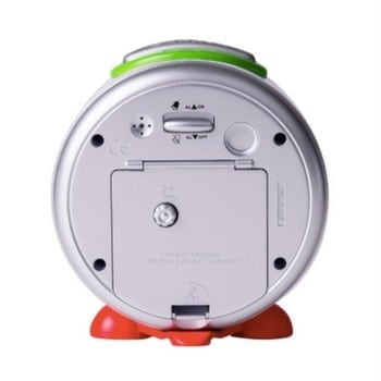 kids alarm clock easyread time teacher is battery operated, has a night light, snooze button and doesn't tick