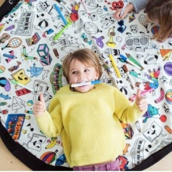 lego storage bag and play mat that you can create your own by colouring