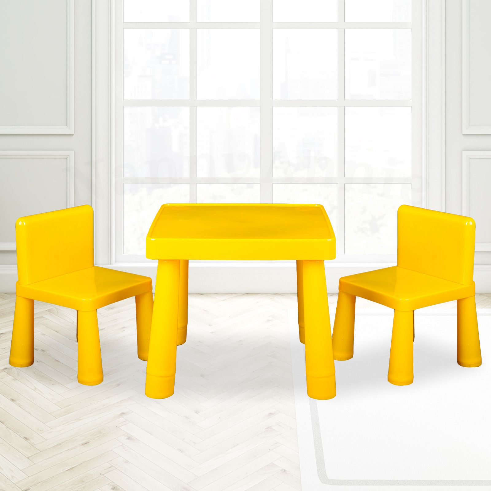 Stupendous Kids Table Chair Play Furniture Set Plastic Fountain Activity Dining Chairs Yellow Interior Design Ideas Gresisoteloinfo